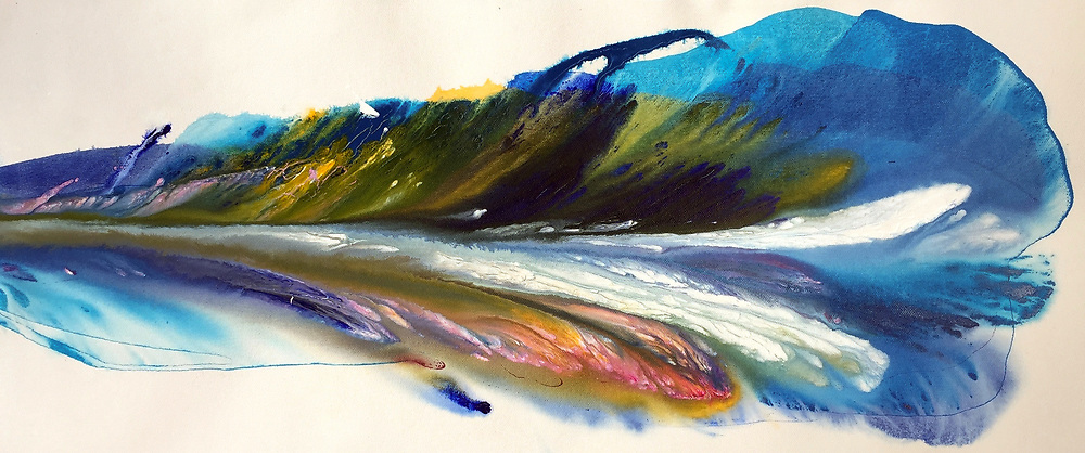 """'FJORD' . 10"""" x 26.5"""" . 2018 . SOLD . Abstract Flow Painting, dozens of layers of 'Golden' high flow acrylics onto loose canvas, mounted onto custom created presentation black lacquered presentation boards with deep backs (1.5"""" to 2.5"""") that appear to 'float' away from the wall. Very Unique presentation! SOLD"""