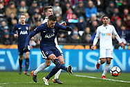Erik Lamela of Tottenham Hotspur scores his teams 2nd goal. The Emirates FA Cup, quarter-final match, Swansea city v Tottenham Hotspur at the Liberty Stadium in Swansea, South Wales on Saturday 17th March 2018.<br /> pic by  Andrew Orchard, Andrew Orchard sports photography.
