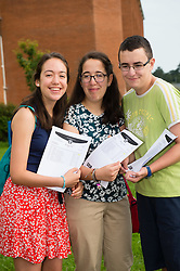 © Licensed to London News Pictures. 25/08/2016. Aberystwyth, Wales, UK. Triplets Ana, Irene and Antonio Barriga, teenage students at Penglais school Aberystwyth Wales UK, celebrating after collecting their GCSE results. The three achieved a clean sweep of A and A* in their exams. Overall in Wales the GCSE A* to C pass rate has remained static  at 66.6%  for the third consecutive  year .  Photo credit: Keith Morris/LNP