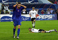 Fotball<br /> UEFA Champions League 2005/2006<br /> 10.08.2005 Bucuresti - Romania<br /> Steaua Bucuresti v Rosenborg<br /> <br /> Victoras Iacob (L) from Steaua dissapointing after losed chances<br /> <br /> Foto: Aleksandar Djorovic, Digitalsport