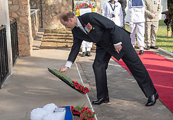 The Earl of Wessex lays a wreath during a visit to the Commonwealth War Graves in Accra, Ghana, on day three of the royal couple's trip to west Africa.