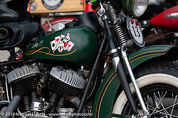 Pat Patterson's 1946 Harley-Davidson Flathead during the Cross Country Chase motorcycle endurance run from Sault Sainte Marie, MI to Key West, FL (for vintage bikes from 1930-1948). Stage 2 from Ludington, MI to Milwaukee, WI, USA. Saturday, September 7, 2019. Photography ©2019 Michael Lichter.