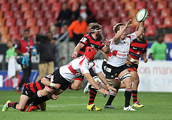 Kwagga Smith of Golden Lions reaches for a pass during the Currie Cup Premier Division match between the Eastern Province Kings and The Lions held at the Nelson Mandela Bay Stadium in Port Elizabeth, South Africa on the 24th September 2016<br /><br />Photo by: Richard Huggard / Real Time Images