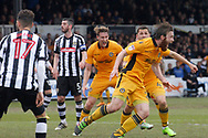 Newport County's Mark O'Brien turns to celebrate after scoring his sides vital match winning goal to keep them in League 2. EFL Skybet football league two match, Newport county v Notts County at Rodney Parade in Newport, South Wales on Saturday 6th May 2017.<br /> pic by David Richards, Andrew Orchard sports photography.