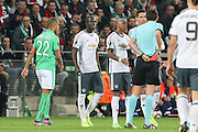Referee Deniz Aytekin shows red card to Eric Bailly Defender of Manchester United and send him off during the Europa League match between Saint-Etienne and Manchester United at Stade Geoffroy Guichard, Saint-Etienne, France on 22 February 2017. Photo by Phil Duncan.