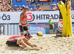 29.07.2016, Strandbad, Klagenfurt, AUT, FIVB World Tour, Beachvolleyball Major Series, Klagenfurt, Herren, im Bild Clemens Doppler (1, AUT), Alexander Horst (2, AUT) // during the FIVB World Tour Major Series Tournament at the Strandbad in Klagenfurt, Austria on 2016/07/29. EXPA Pictures © 2016, PhotoCredit: EXPA/ Gert Steinthaler