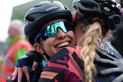 Alexis Ryan celebrates with teammate, Alice Barnes at Drentse 8 van Westerveld 2018 - a 142 km road race on March 9, 2018, in Dwingeloo, Netherlands. (Photo by Sean Robinson/Velofocus.com)