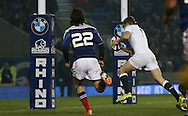 George Perkins (Saracens) scores a try during the 2015 Under 20s 6 Nations match between England and France at the American Express Community Stadium, Brighton and Hove, England on 20 March 2015.