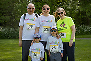 NO FEE PICTURES<br /> 19/5/18 Hundreds of people of all ages lapped up the summer sunshine when they came out to support an important cause which is close to many of their hearts, organ donation, by taking part in the Irish Kidney Association's 'Run for a Life' family fun run which took place at Corkagh Park, Clondalkin, Dublin 22 on Saturday 19th May.   (www.runforalife.ie) Pictured Peter pardoe,  Sarah Jane kavanagh, Ethan 3 Joshua 5, Margaret Pardoe, Clondalkin.Picture:Arthur Carron