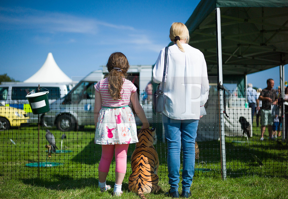 © Licensed to London News Pictures.12/08/15<br /> Danby, UK. <br /> <br /> A mother and daughter stand and look at a display of birds of prey at the 155th Danby Agricultural Show in the Esk Valley in North Yorkshire. <br /> <br /> The popular agricultural show attracts competitors and visitors from all over the surrounding area to this annual showcase of country life. <br /> <br /> Photo credit : Ian Forsyth/LNP