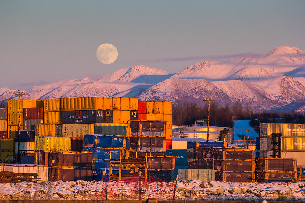 Port of Anchorage moon rise.