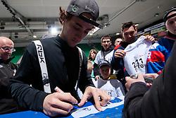 Matija Pintaric of Slovenia signing autographs to the fans at ice-hockey match between Slovenia and Kazakhstan, on April 12, 2011 at Hala Tivoli, Ljubljana, Slovenia. (Photo By Matic Klansek Velej / Sportida.com)