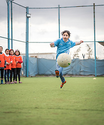 20 February 2020, Za'atari Camp, Jordan: Football practice for girls in the Peace Oasis, a Lutheran World Federation space in the Za'atari Camp where Syrian refugees are offered a variety of activities on psychosocial support, including counselling, life skills trainings and other activities.