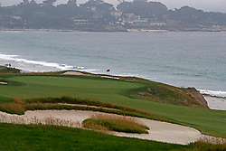 June 12, 2019 - Pebble Beach, CA, U.S. - PEBBLE BEACH, CA - JUNE 12: A general view of the 10th hole seen during a practice round for the 2019 US Open on June 12, 2019, at Pebble Beach Golf Links in Pebble Beach, CA. (Photo by Brian Spurlock/Icon Sportswire) (Credit Image: © Brian Spurlock/Icon SMI via ZUMA Press)