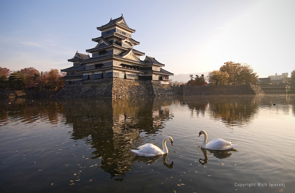 Matsumoto castle and castle moat at sunrise, Matsumoto, Nagano Prefecture, Japan