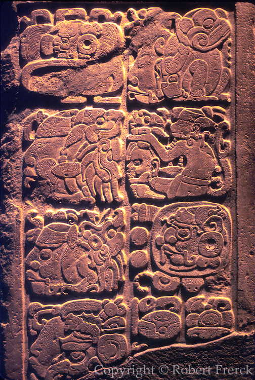 MEXICO, MEXICO CITY, MUSEUM Mayan stone glyphs from Yaxchilan