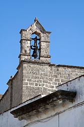 Campanile della chiesa del Crocefisso a Taviano. Si tratta della chiesa più antica della città.