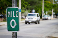 USA, Florida, Key West. Mile Marker 0 on U.S. Route 1.