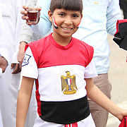 An Egyptian boy, dressed in his national flag, poses for the camera.