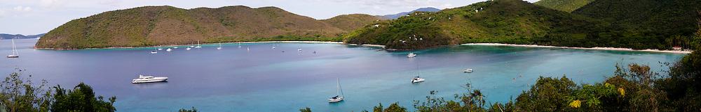 Panoramic view of Trunk Bay and Maho Bay, St. John, US Virgin Islands
