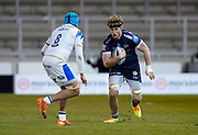 Sale Sharks No.8 Dan Du Preez runs at Bath Rugby's No.8 Zach Mercer during a Gallagher Premiership Round 9 Rugby Union match, Friday, Feb 12, 2021, in Leicester, United Kingdom. (Steve Flynn/Image of Sport)