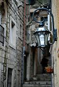 Street-lamp, Korcula old town, island of Korcula, Croatia