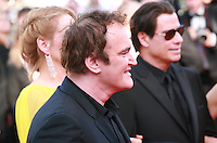 Quentin Tarantino, Uma Thurman, John Travolta at Sils Maria gala screening red carpet at the 67th Cannes Film Festival France. Friday 23rd May 2014 in Cannes Film Festival, France.