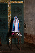A statue of the Virgin Mary in the San Nicolas Tolentino Temple and Ex-Monastery in Actopan, Hidalgo, Mexico. The colonial church and convent  was built in 1546 and combine architectural elements from the romantic, gothic and renaissance periods.