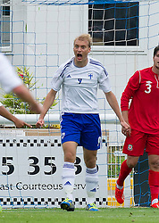 14.08.2013, Nantporth Stadion, Bangor, WAL, UEFA U21 Europameisterschaft Qualifikation, Wales vs Finnland, Gruppe 1, im Bild Finland striker Tim Vayrynen celebrates his goal to make the game 2-0 against Wales during the UEFA U21 Championship 2015 Group 1 match at Nantporth Stadium during the UEFA U21 championchip qualification group 1 match between Wales and Finland at the Nantporth stadium in Bangor, Wales on 2013/08/14. EXPA Pictures © 2013, PhotoCredit: EXPA/ Propagandaphoto/ Dave Richards<br /> <br /> ***** ATTENTION - OUT OF ENG, GBR, UK *****