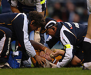 2005 Rugby, Investec Challenge, England vs Australia, Assistant coaches, ckeck matt Dunning after he's injured in a late second half scrum. RFU Twickenham, ENGLAND:     12.11.2005   © Peter Spurrier/Intersport Images - email images@intersport-images..