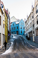 Alesund, Norway. The town is famous for its art nouveau (Jugendstil) architecture. The  town was rebuilt after a fire in 1904. Alesund is in the heart of Fjord Country, at the entrance to Geirangerfjord on Norway's west coast. It has some steep streets and walking paths.