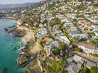 Aerial view of Laguna Beach coastline in California, USA.