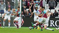 Football - 2016 / 2017 Premier League - West Ham United vs. Sunderland<br /> <br /> Winston Reid of West Ham strikes the winning goal with seconds left on the clock at The London Stadium.<br /> <br /> COLORSPORT/DANIEL BEARHAM