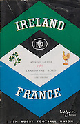 Irish Rugby Football Union, Ireland v France, Five Nations, Landsdowne Road, Dublin, Ireland, Saturday 15th April, 1961,.15.4.1961, 4.15.1961,..Referee- G J Treharne, ..Score- Ireland 3 - 15 France, ..Irish Team, ..T J Kiernan,  Wearing number 15 Irish jersey, Full Back, University college Cork Football Club, Cork, Ireland,  ..A J F O'Reilly, Wearing number 14 Irish jersey, Right Wing, Dolphin Rugby Football Club, Cork, Ireland, ..D Hewitt, Wearing number 13 Irish jersey, Right centre, Queens University Rugby Football Club, Belfast, Northern Ireland,..J C Walsh,  Wearing number 12 Irish jersey, Left Centre, University college Cork Football Club, Cork, Ireland,..N H Brophy, Wearing number 11 Irish jersey, Left wing, Blackrock Rugby Football Club, Dublin, Ireland, ..M A English, Wearing number 10 Irish jersey, Stand Off, Garryowen Rugby Football Club, Limerick, Ireland, ..A A Mulligan, Wearing number 9 Irish jersey, Scrum Half, London Irish Rugby Football Club, Surrey, England, ..B G Wood, Wearing number 1 Irish jersey, Forward, Landsdowne Rugby Football Club, Dublin, Ireland,..A R Dawson, Wearing number 2 Irish jersey, Captain of the Irish team, Forward, Wanderers Rugby Football Club, Dublin, Ireland, ..S Millar, Wearing number 3 Irish jersey, Forward, Ballymena Rugby Football Club, Antrim, Northern Ireland,..T J Nesdale, Wearing number 4 Irish jersey, Forward, Garryowen Rugby Football Club, Limerick, Ireland, ..C J Dick, Wearing number 5 Irish jersey, Forward, Ballymena Rugby Football Club, Antrim, Northern Ireland,..D Scott, Wearing number 6 Irish jersey, Forward, Malone Rugby Football Club, Belfast, Northern Ireland, ..J R Kavanagh, Wearing number 8 Irish jersey, Forward, Wanderers Rugby Football Club, Dublin, Ireland,..M G Culliton, Wearing number 7 Irish jersey, Forward, Wanderers Rugby Football Club, Dublin, Ireland, . .French Team, ..M Vannier, Wearing number 15 French jersey, Full Back, R C Chalon Rugby Football Club, France,..S Mericq, Wearing number 11 Fren