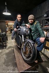 Custom Works Zon partners Yoshikazu Ueda (L) and Yuichi Yoshizawa with Yoshi's new custom Ducati in their shop in Shiga Prefecture, Japan. December 8, 2015.  Photography ©2015 Michael Lichter.
