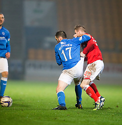 St Johnstone's James McFadden and Ross County's Michael Gardyne.<br /> St Johnstone 2 v 1 Ross County, Scottish Premiership 22/11/2014 at St Johnstone's home ground, McDiarmid Park.