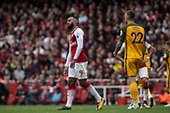 Alex Lacazette Of Arsenal looks on.<br /> Premier league match, Arsenal v Brighton & Hove Albion at the Emirates Stadium in London on Sunday 1st October 2017. pic by Kieran Clarke, Andrew Orchard sports photography.
