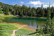 Shadow Lake near Sunrise at Mount Rainier National Park in Washington State, USA