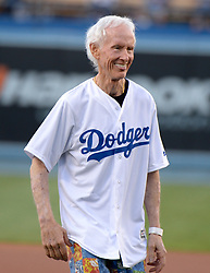 July 28, 2017 - Los Angeles, California, U.S. - Robby Krieger of the rock group the Doors throws out the ceremonial pitch prior to a Major League baseball game between the San Francisco Giants and the Los Angeles Dodgers at Dodger Stadium on Friday, July 28, 2017 in Los Angeles. (Photo by Keith Birmingham, Pasadena Star-News/SCNG) (Credit Image: © San Gabriel Valley Tribune via ZUMA Wire)