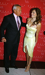 PER NEUMAN and LIZ HURLEY wearing a Versace dress and Jimmy Choo shoesat a party to launch 'Beauty Week' at the V&A in association with Estee Lauder- a special week of debates, talks and performances celebrating beauty on 24th January 2005.<br />