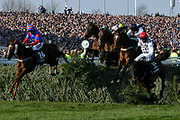 National Hunt Horse Racing - 2019 Randox Health Grand National Festival - Saturday, Day Three (Grand National Day)<br /> <br /> Nico de Boinville in the lead on Singlefarmpayment as the field takes The Chair, in the 1.45 Gaskells Handicap Hurdle (Grade 3) (Class 1)<br /> at Aintree Racecourse.<br /> <br /> COLORSPORT/WINSTON BYNORTH