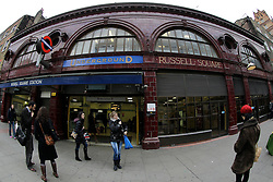 © Licensed to London News Pictures. 08/01/2013, London, UK. The Grade II listed Russell Square underground station in London, Tuesday, Jan. 8, 2013. London Underground mark its 150 year anniversary on 9 January. In 1863 January 9 the world first underground train entered into public service. Photo credit : Sang Tan/LNP