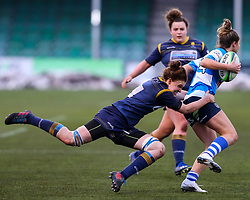 Philippa Rawbone of Worcester Warriors Women makes a flying tackle - Mandatory by-line: Nick Browning/JMP - 09/01/2021 - RUGBY - Sixways Stadium - Worcester, England - Worcester Warriors Women v DMP Durham Sharks - Allianz Premier 15s