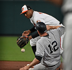May 30, 2017 - Baltimore, MD, USA - Baltimore Orioles second baseman Jonathan Schoop, top, drops the ball during the transfer after forcing out the New York Yankees' Chase Headley (12) in the fifth inning at Oriole Park at Camden Yards in Baltimore on Tuesday, May 20, 2017. The Yankees won, 8-3. (Credit Image: © Kenneth K. Lam/TNS via ZUMA Wire)
