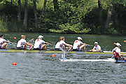 Lucerne, SWITZERLAND.  Women's eight final USA W8+ and CAN W8+ in the closing stages of the final.  approaching and crossing the finishing line  2012 FISA World Cup II, Lucerne Regatta.  Rotsee  Rowing Course,  Sunday  27/05/2012    [Mandatory Credit Peter Spurrier/ Intersport Images]