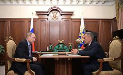 April 26, 2017 - Moscow, Russia - April 26, 2017. - Russia, Moscow. - Russian President Vladimir Putin meets with President of Tatarstan Rustam Minnikhanov  (Credit Image: © Russian Look via ZUMA Wire)