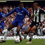 Chelsea's Marcel Desailly shadows Newcastle United's Kieron Dyer