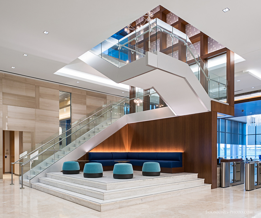 Commercial real estate photography of an office lobby