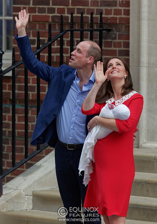 London, United Kingdom - 23 April 2018<br /> Prince William and Kate Middleton, The Duke and Duchess of Cambridge show off their new baby as they leave the Lindo Wing of St. Mary's Hospital, Paddington, London, England, UK, Europe.<br /> www.newspics.com/#!/contact<br /> (photo by: EQUINOXFEATURES.COM)<br /> Picture Data:<br /> Photographer: Equinox Features<br /> Copyright: ©2018 Equinox Licensing Ltd. +448700 780000<br /> Contact: Equinox Features<br /> Date Taken: 20180423<br /> Time Taken: 17522799
