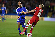 David McGoldrick of Ipswich Town challenges Craig Noone of Cardiff city (r).Skybet football league championship match, Cardiff city v Ipswich Town at the Cardiff city stadium in Cardiff, South Wales on Tuesday 21st October 2014<br /> pic by Andrew Orchard, Andrew Orchard sports photography.